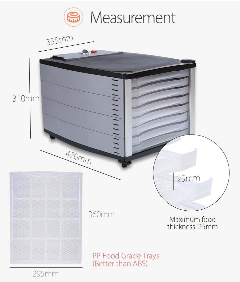 Flora Mechanical Food Dehydrator 3D Dehydrator 360?? Complete Heating Aluminum Fan with Power Saving Slow Motor 800W Premium Heating Element