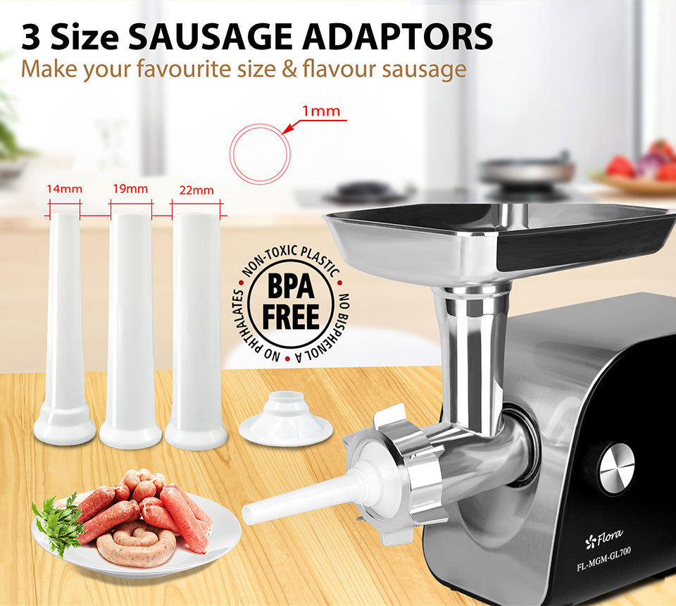 3 Size SAUSAGE ADAPTORS Make your favourite size flavour sausage BPA free