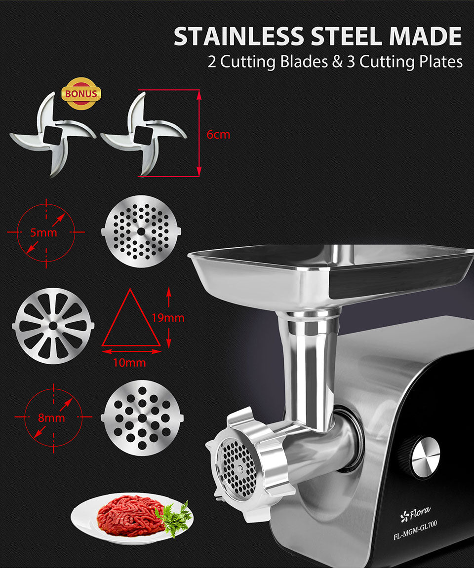 Stainless Steel Made 2 Cutting Blades 3 Cutting Plates bonus size