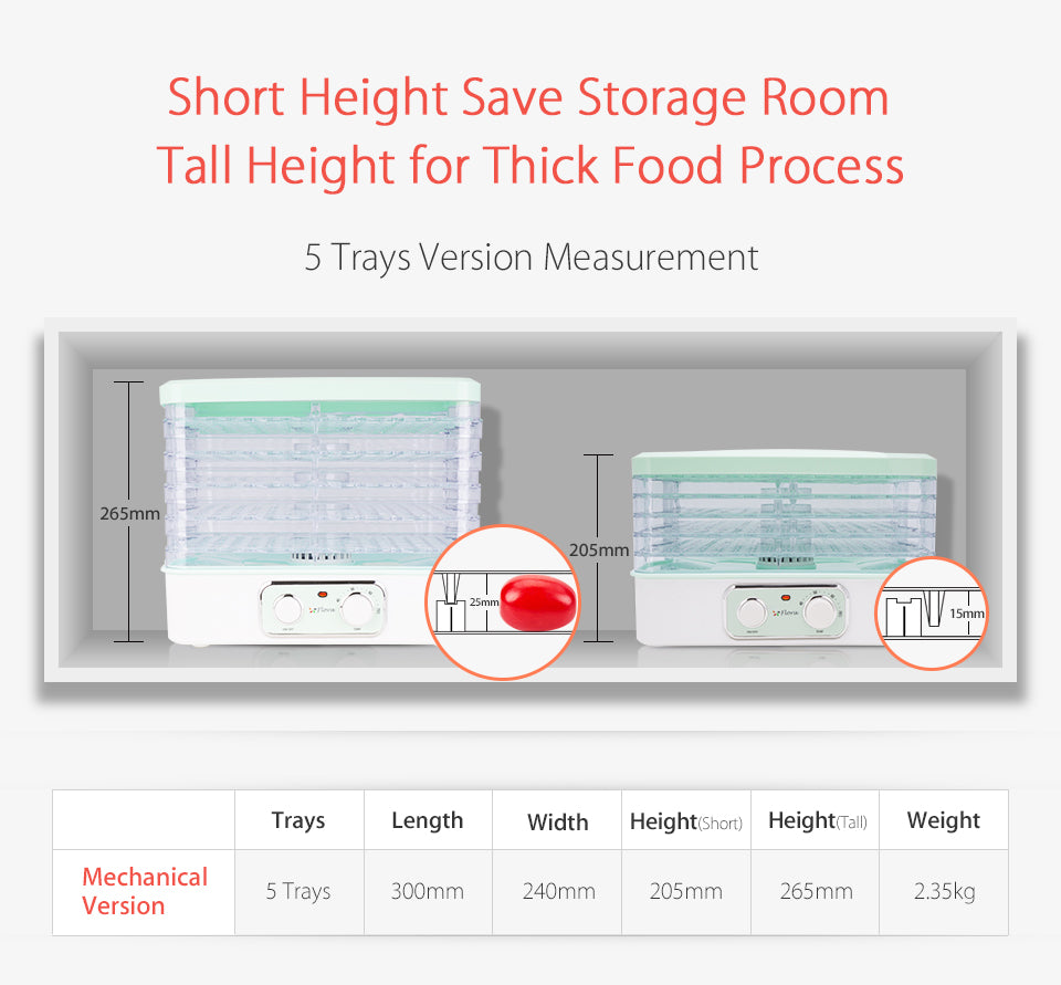 Premium Food Dehydrator Healthy Life Style Short Height Save Storage Room Tall Height for Thick Food Process 5 Trays Version Measurement 7 Trays Version Measurement