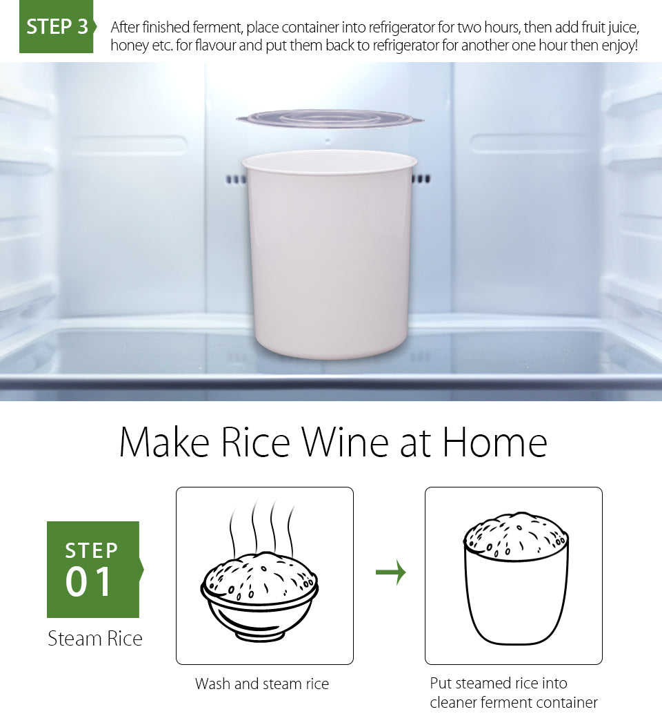 2018 New Flora Yogurt Maker Yoghurt Maker Rice Wine Automatic Machine 1L FDA APP step 3 After finished ferment, place container into refrigerator for two hours, then add fruit juice,?? honey etc. for flavour and put them back to refrigerator for another one hour then enjoy Make Rice Wine at Home step?? 01 Steam Rice Wash and steam rice Put steamed rice into?? cleaner ferment container