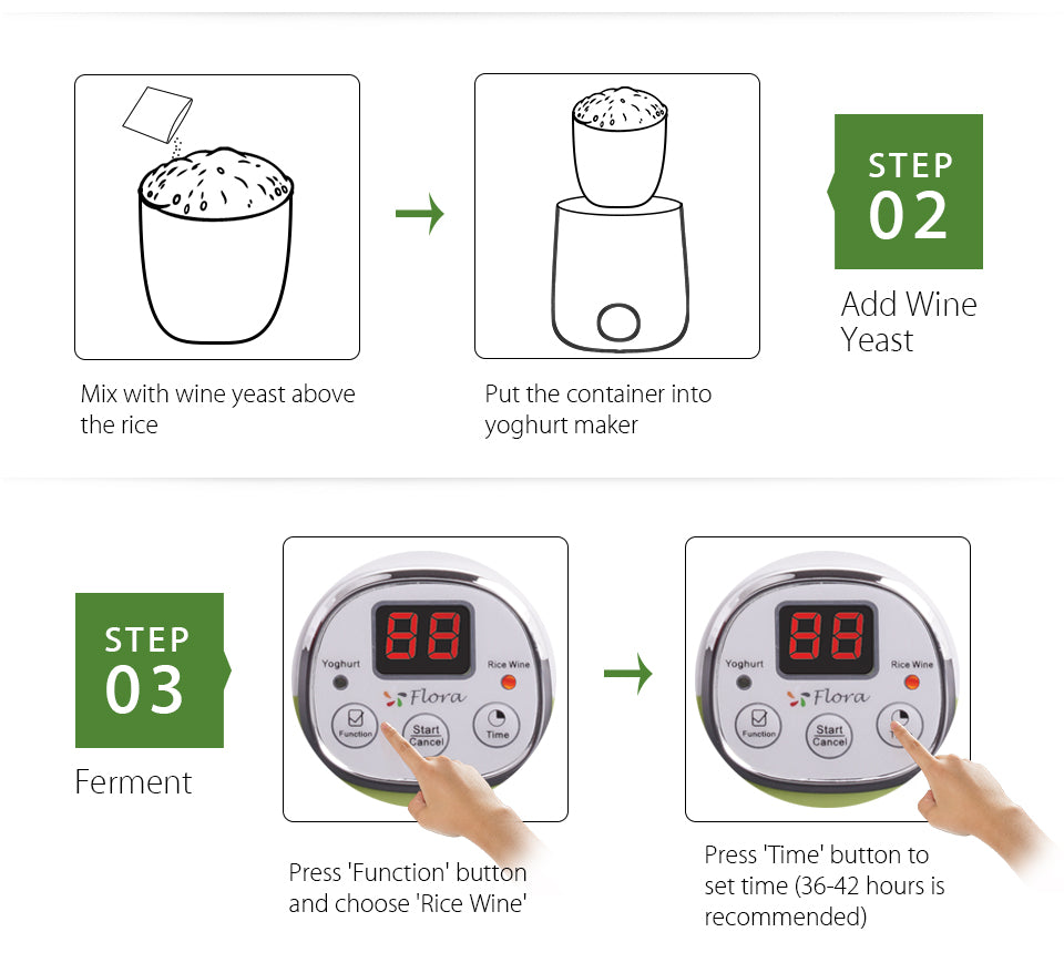 2018 New Flora Yogurt Maker Yoghurt Maker Rice Wine Automatic Machine 1L FDA APP Mix with wine yeast above?? the rice Put the container into?? yoghurt maker step?? 02 Add Wine?? Yeast step?? 03 Ferment Press 'Function' button?? and choose 'Rice Wine' Press 'Time' button to?? set time (36-42 hours is?? recommended)