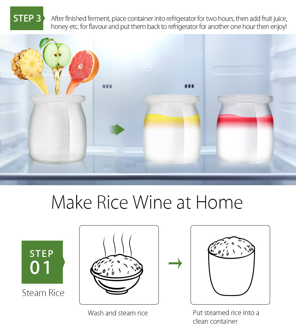 Flora Yogurt Maker Yoghurt Maker 7 Glass Jars Automatic & Rice Wine Machine FDA step 3 After finished ferment, place container into refrigerator for two hours, then add fruit juice,?? honey etc. for flavour and put them back to refrigerator for another one hour then enjoy Make Rice Wine at Home step?? 01 Steam Rice Wash and steam rice Wash and steam rice Put steamed rice into a clean container