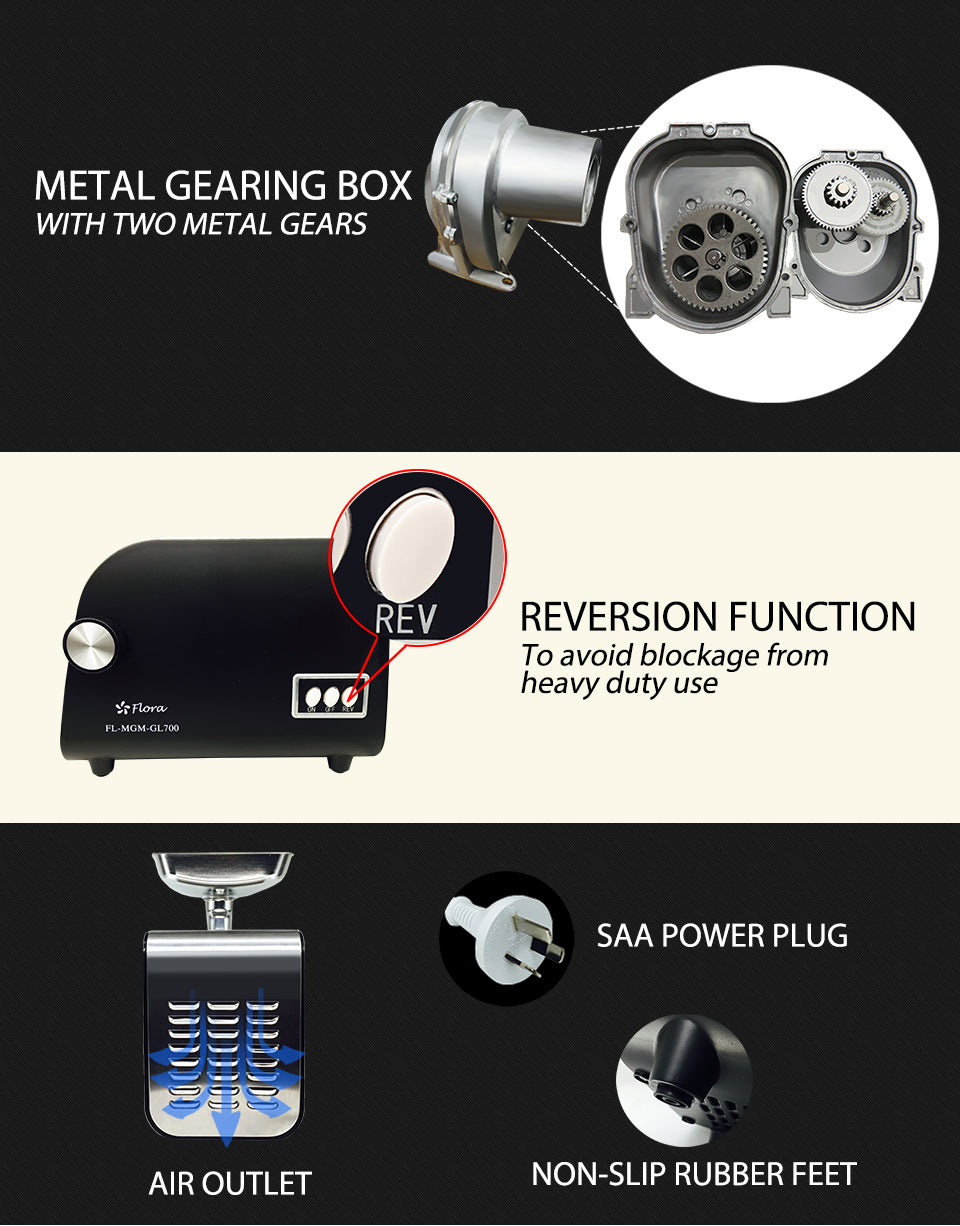 METAL GEARING BOX WITH TWO METAL GEARS REVERSION FUNCTION To avoid blockage from heavy duty use SAA POWER PLUG AIR OUTLET NON-SLIP RUBBER FEET