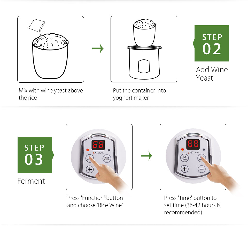 2018 Flora Greek Yogurt / Yoghurt Maker Automatic / Rice Wine Machine 2L FDA APP Make Rice Wine at Home step?? 01 Steam Rice Wash and steam rice Put steamed rice into?? cleaner ferment container