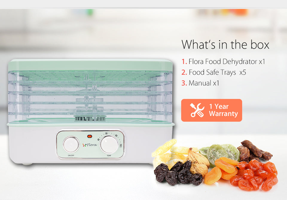 Premium Food Dehydrator Healthy Life Style What?????s in the box Flora Food Dehydrator Food Safe Trays?? x5 ???or x7????? Manual 1 Year?? Warranty
