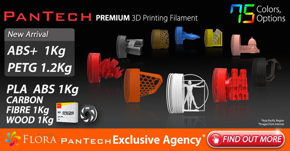 56 COLOR OPTIONS PanTech PETG PLA ABS WOOD CARBON FIBRE PREMIUM 3D Printing Filament New Arrival Exclusive Agency Asia Pacific Region FIND OUT MORE