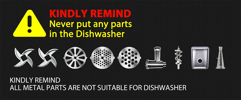 KINDLY REMIND Never put any parts in the Dishwasher