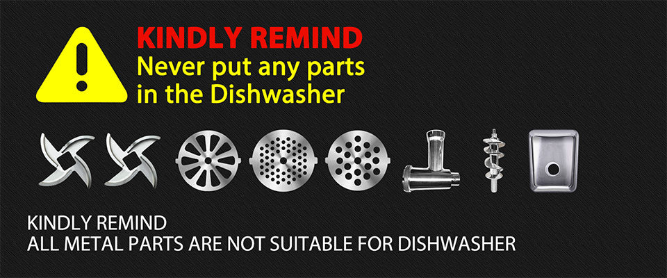 KINDLY REMIND Never put any parts?? in the Dishwasher