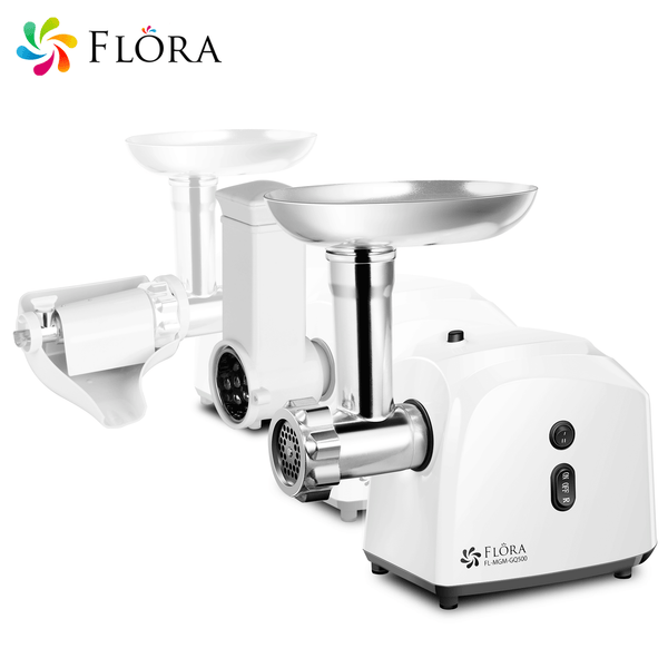 Flora White Electric Meat Grinder Tomato Sauce Slicer Shredder sausage 2600