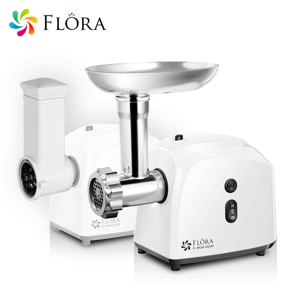 Flora White Electric Meat Mincer Slicer Shredder Kit Grinder Maker Sausage