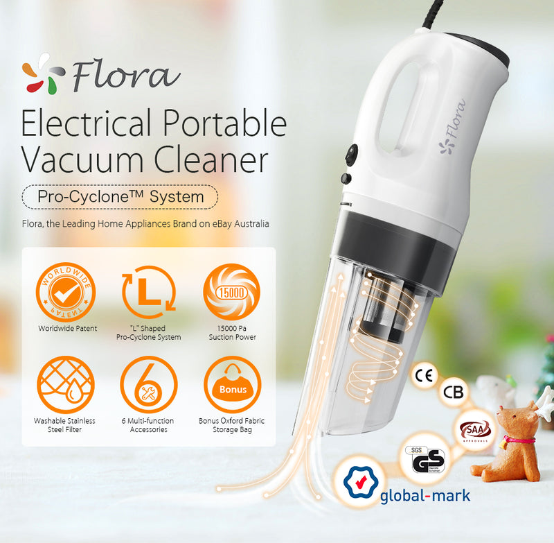 Flora Super Powerful Household Electric Portable Handheld Cyclone Vacuum Cleaner