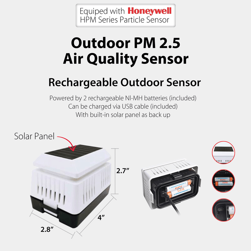 Outdoor & Indoor PM2.5 Air Quality Sensor design for PanTech Weather Station PT-HP2550 & PT-HP2553