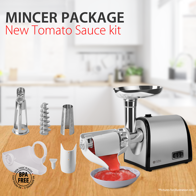 Meat Mincer Tomato Sauce Kit Flora Grinder Package Electric Stainless Steel