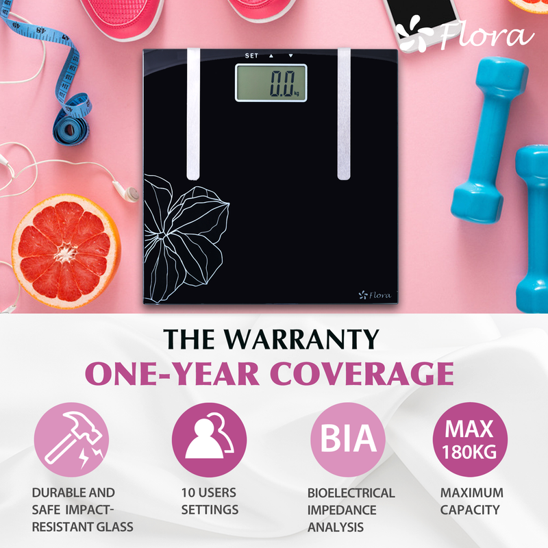 Flora Body Scale Digital Bathroom Weight Fat & Water Analysis slim glass