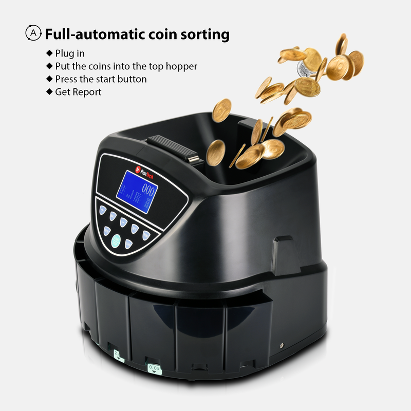 PanTech Australian Coin Sorter Coin Counter Machine Automatic Electronic PT-CSC-BLACK