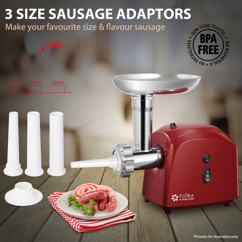 Flora Electric Meat Grinder Tomato Sauce Slicer Shredder PACKAGE