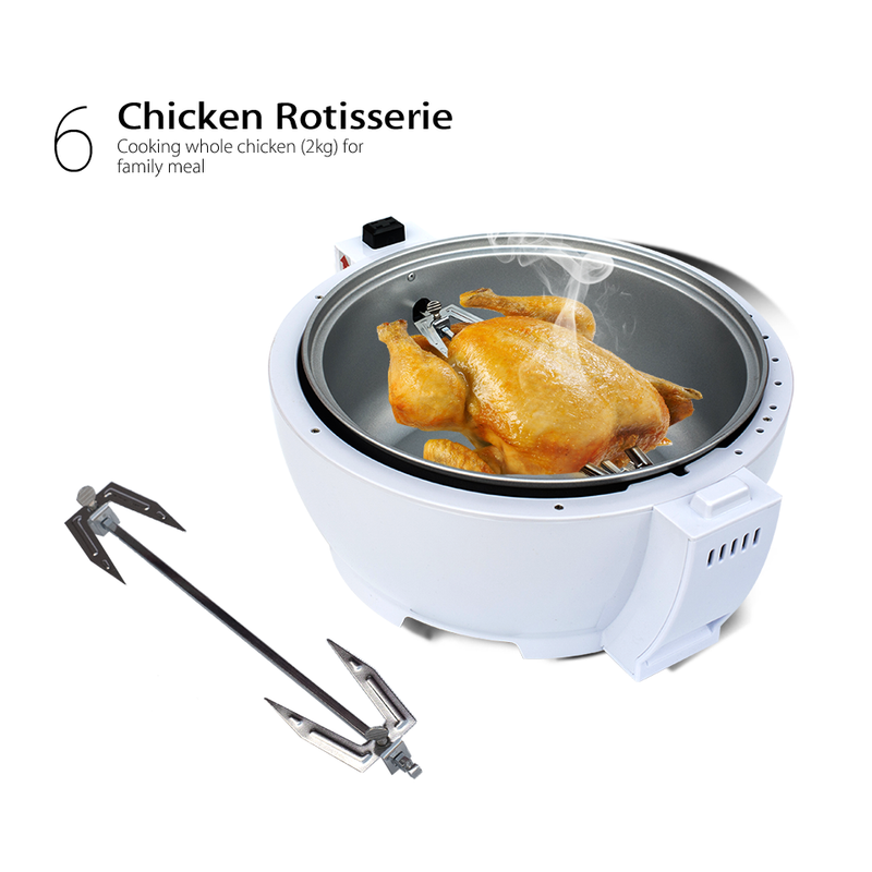 New White 1300w 13L Multifuctional LCD Air Fryer Healthy Cooker Low Fat Oil Free