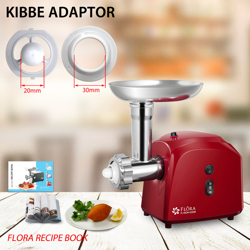 RED Flora Electric Meat Grinder Mincer filler Kibbe Maker Max 2600w