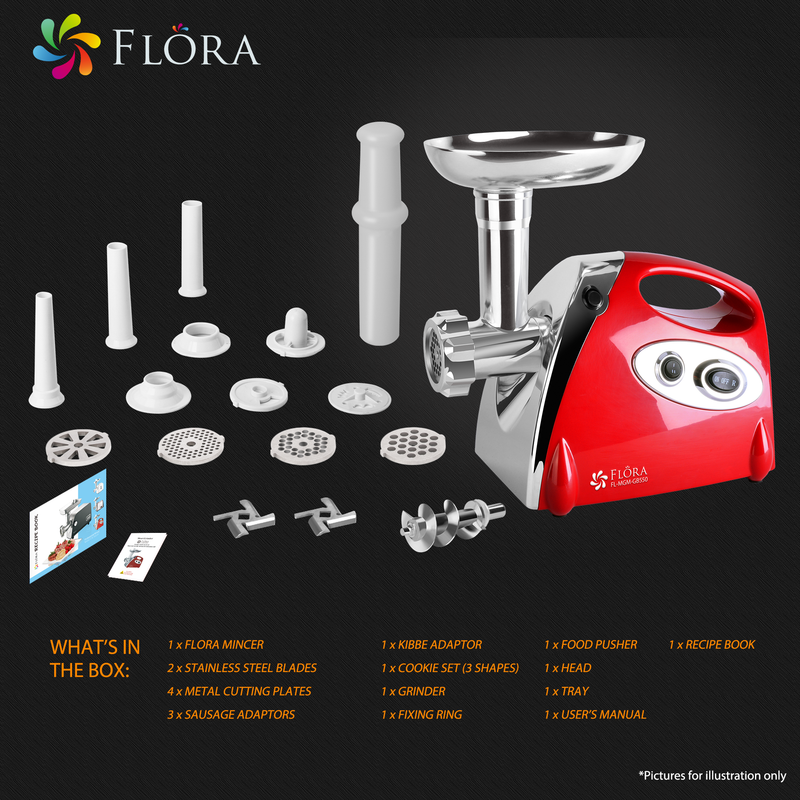 Flora Mincer 2800w Electric Meat Grinder Stainless Steel Blades Sausage