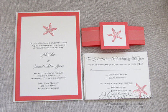 Starfish Wedding Invitation Sample Set by Moonlightstamper