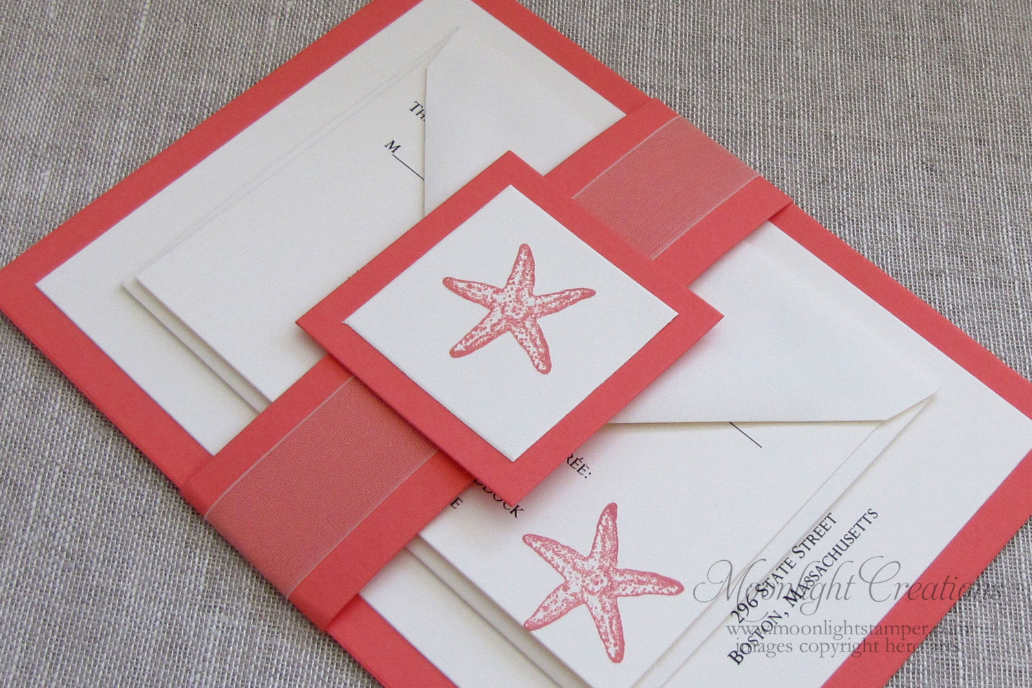 Coral Starfish Wedding Invitations, Beach Wedding Invites, Belly ...