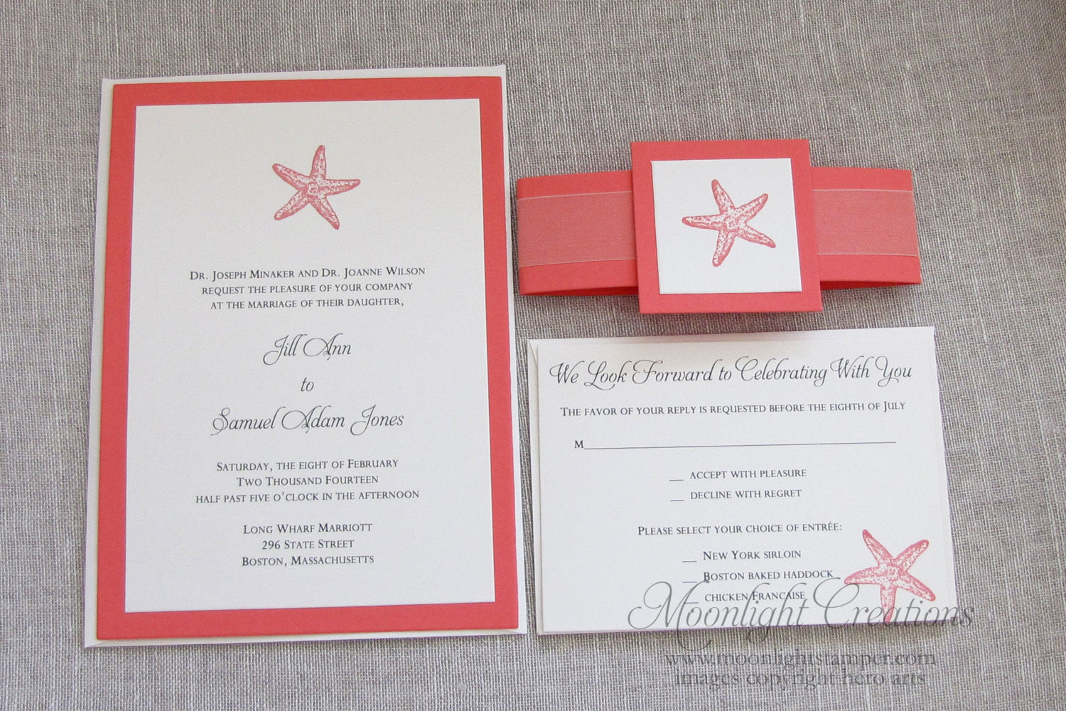 coral starfish wedding invitations beach wedding invites belly