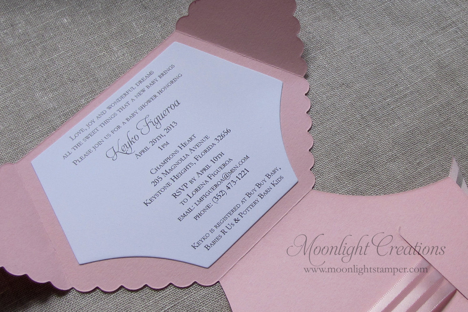Diaper Shaped Baby Shower Invitations Pink and White striped