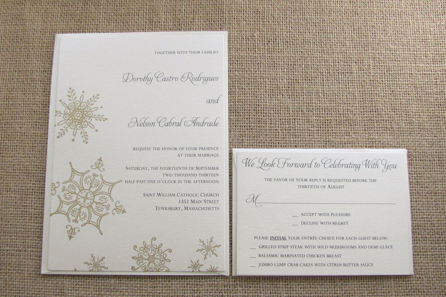 gold winter wonderland wedding invitations snowflake wedding