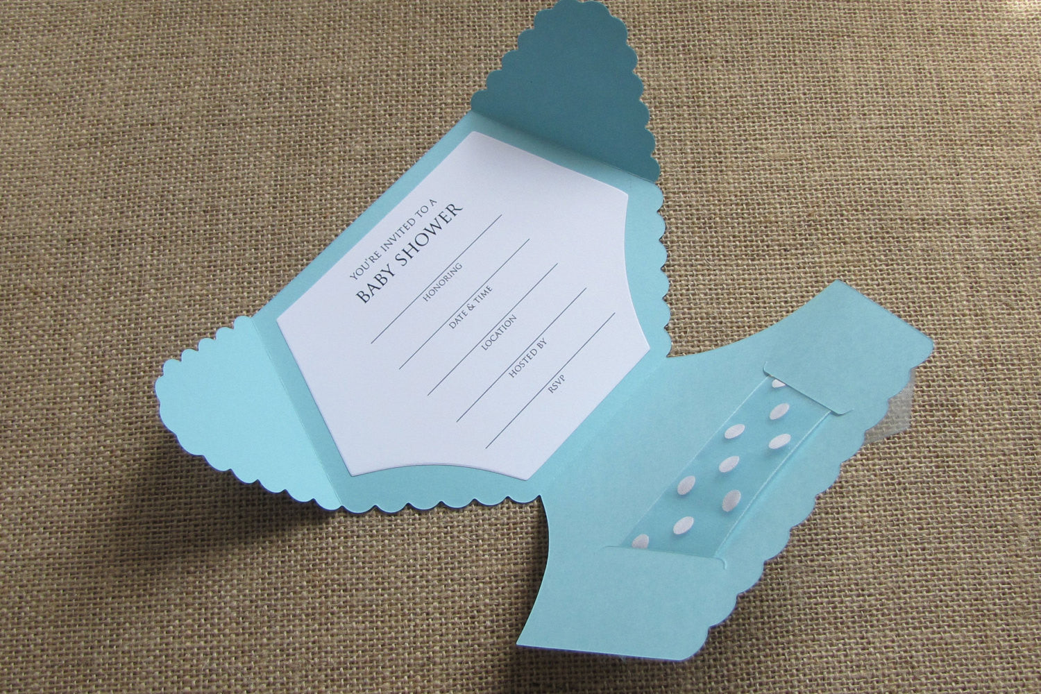 Diaper Shaped Baby Shower Invitations Baby Blue Polka Dot Fill In