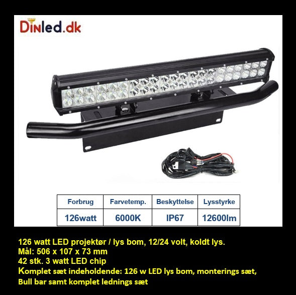 LED Lys bro / lys bar 126 watt inkl. Bull bar og Ledning