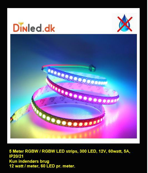 5 meter, 12 volt, 60 watt, IP20, 300 LED, RGBW / RGBWW LED strip