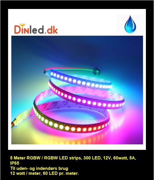 Image of   5 meter, 12 volt, 60 watt, IP65, 300 LED, VANDTÃâ€T RGBW / RGBWW LED strip