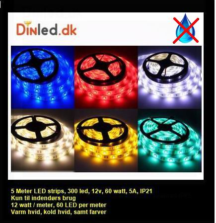 5 meter, 12 volt, 60 watt, 3600 lumen, IP20, 300 LED, Led strip