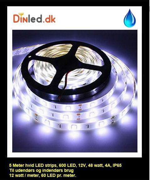 5 Meter, 12 volt, 60 watt, 3600 lumen, IP65, 300 LED, VANDTÆT Led strip