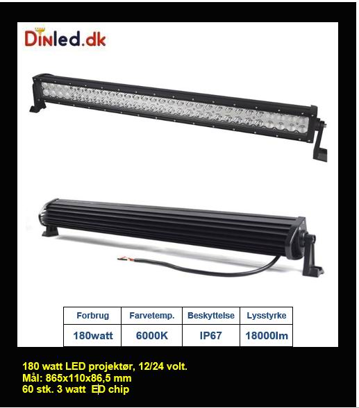 LED COMBO Lys bro / lys bar 180 watt 12/24 volt