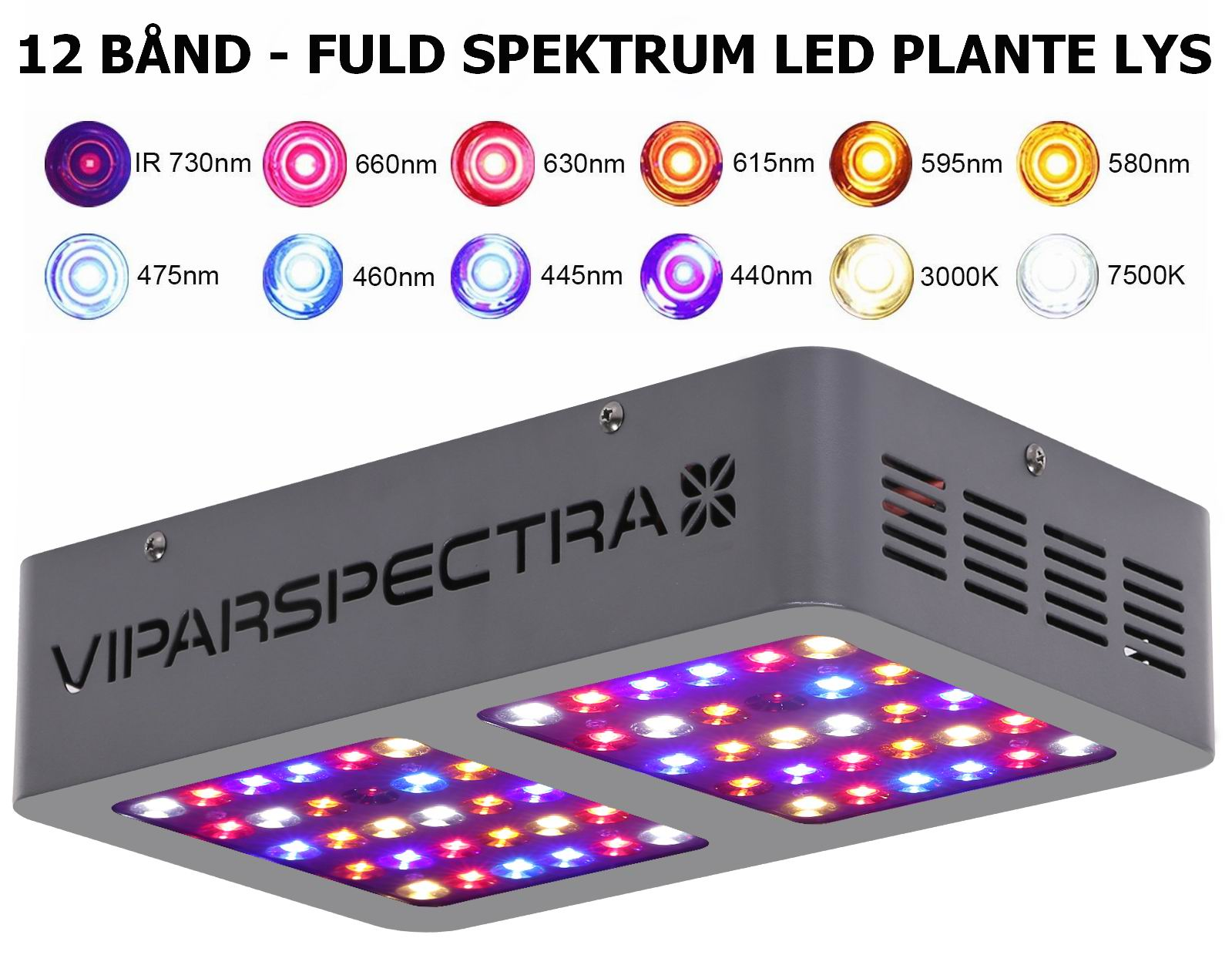 Image of   300 watt LED plante lys - Fuldt spektrum - 12 bånd