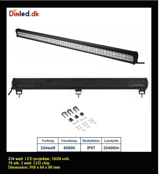 LED Lys bro / lys bar 234 watt 12/24 volt