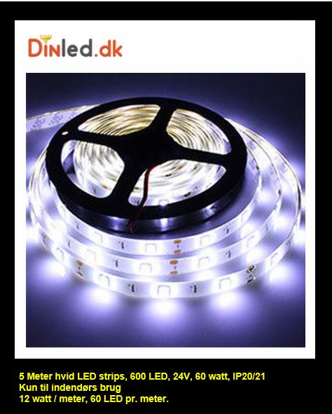 5 meter, 24 volt, 72 watt, 4800 lumen, IP20, 300 LED, Led strip