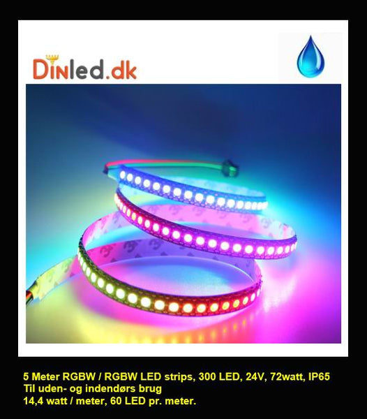 5 meter, 24 volt, 72 watt, IP65, 300 LED, VANDTÆT RGBW / RGBWW LED strip