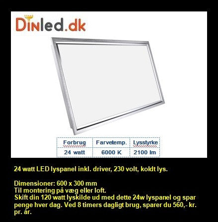 LED Lyspanel 24w 220v