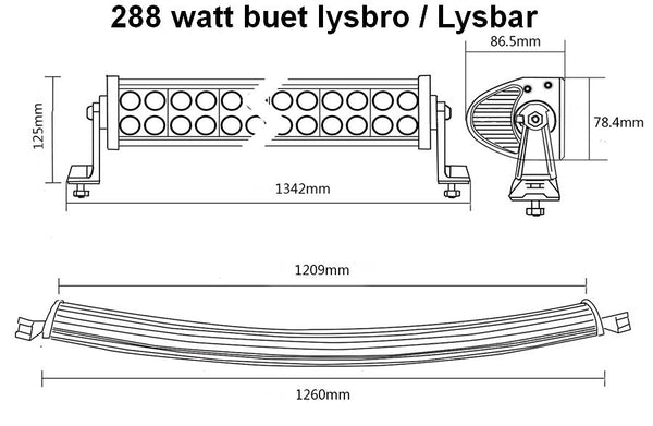 Buet LED Lys bro / lys bar 12/24 volt 120 - 180 - 240 - 300 watt