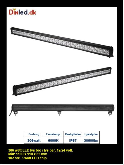 LED Lys bro / lys bar 306 watt 12/24 volt