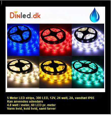 5 Meter, 12 volt, 24 watt, 1800 lumen, IP65, 300 LED, VANDTÆT Led strip