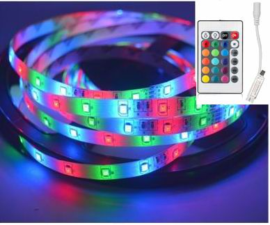 Image of   5 meter, 12 volt, 24 watt, IP20, RGB LED strip