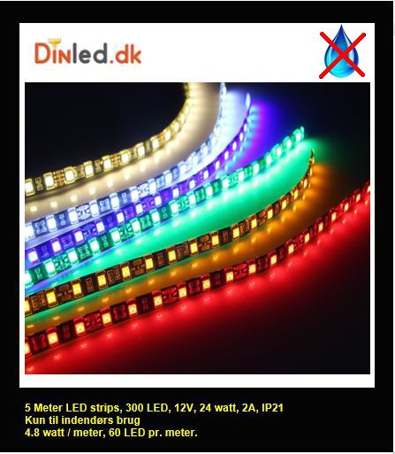 5 meter, 12 volt, 24 watt, 1800 lumen, IP20, 300 LED, Led strip