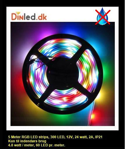 5 meter, 12 volt, 24 watt, IP20, RGB LED strip