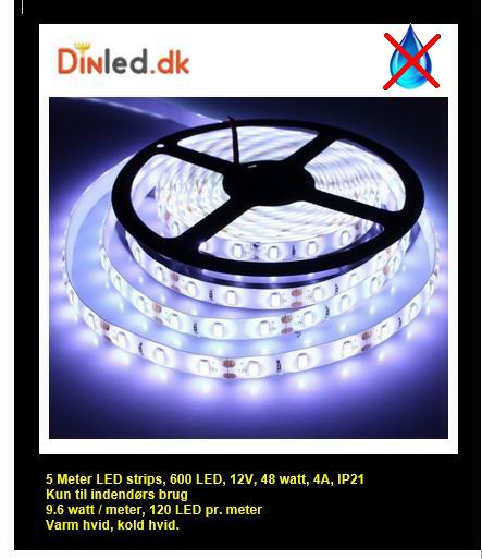 5 meter, 12 volt, 48 watt, 3600 lumen, IP20, 600 LED, Led strip
