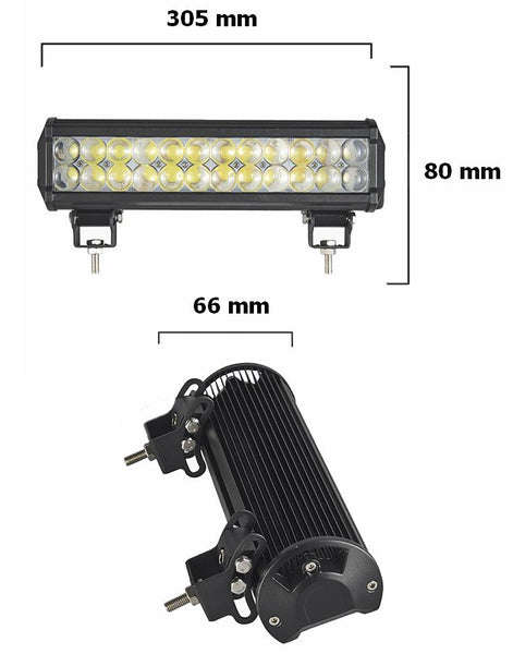 LED Lys bro / lys bar 72 watt 12/24 volt Combo