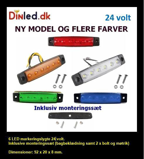 6 LED markeringslygte, 24v. Ny model